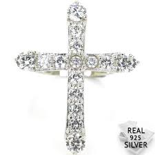 5.1g <b>Real 925 Solid</b> Sterling Silver Cross White Cubic Zirconia ...