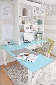 an l shaped colored top table with a bookcase above offering ample storage chic lshaped office desk