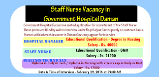 world4nurses staff nurse vacancy in government hospital daman 2016 government hospital daman has invited application for recruitment of the staff nurse these posts are filled by walk in interview under rogi kalyan samiti