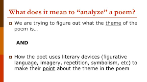 poetry analysis essay what does it mean to analyze a poem  what does it mean to analyze a poem  we are trying to