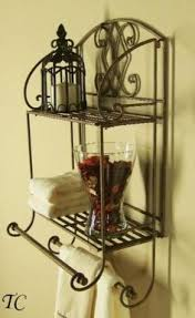 bathroom black wrought iron space tuscan wrought iron  tier wall shelf with towel bars cheap chic decorh