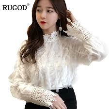 RUGOD однотонная кружевная рубашка с воротником-стойкой ...