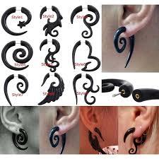 A Pairs <b>Black</b> Fake Plugs <b>Acrylic</b> Spiral <b>Ear</b> Taper Gauges ...