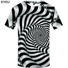 <b>KYKU Psychedelic T Shirt</b> Men Black And White 3d <b>Tshirt</b> Punk Rock ...