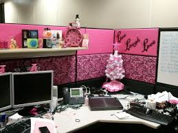 m cubicle office decor with pink nuance and small white christmas tree on white wooden desk christmas tree office desk