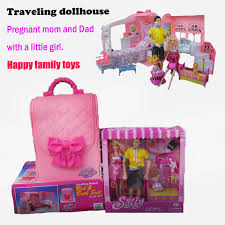 plastic dollhouse furniture sets diy dollhouse handbag traveling dollhouse furniture sets miniature doll pregnant dolls bedroom barbie furniture for dollhouse