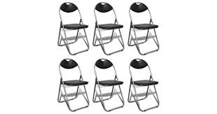 Folding <b>Dining Chairs 6 pcs</b> Black Faux Leather and Steel - Matt Blatt