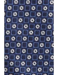 Dark blue silk tie with white <b>floral</b> pattern | Canali.com