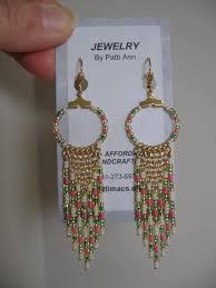 <b>Seed Bead</b> Hoop Chain Earrings Pink/Green/Cream by pattimacs ...