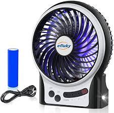 efluky 3 Speeds Mini Desk Fan, Rechargeable Battery ... - Amazon.com