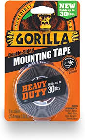 "Gorilla <b>Heavy</b> Duty Mounting <b>Tape</b>, <b>Double</b>-<b>Sided</b>, 1"" x 60"", Black ..."