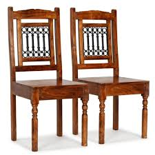 【USA Warehouse】<b>Dining Chairs 2 pcs</b> Solid Wood with ...