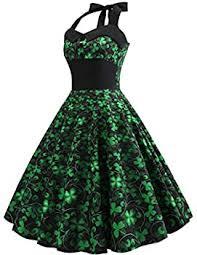 iYBUIA Women's Dresses St. Patrick S Day Halter <b>Four Leaf Clover</b> ...