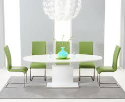 white gloss dining table seats brushed