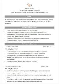 microsoft word resume template –    free samples  examples    data entry supervisor resume format  free download