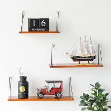 Nordic <b>Solid wood</b> Storage Rack <b>Wall mounted</b> One word shape ...