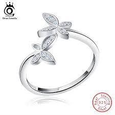 <b>ORSA JEWELS</b> Fashion <b>Silver 925</b> Adjustable Rings Flower Design ...