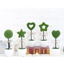 2016 creative simulation potted plants flocking love five pointed star small bonsai grass ball home beautifying office bonsai grass pots planters mini