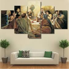 5 Pieces Modern <b>HD Canvas Painting</b> Last Supper <b>Painting</b> Decor ...