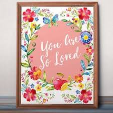 floral print girl nursery wall art kid