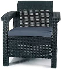 Keter <b>Chair</b> for <b>Outdoor</b> Seating with Washable <b>Cushion</b>-Perfect for…