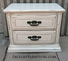 from facelift furnitures antique nightstand in distressed antiqued white and tobacco glaze with hardware painted dark bronze from antique distressed furniture
