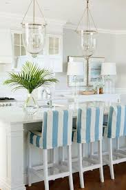 coastal kitchen with bell jar lantern pendants beach house kitchen nickel oversized pendant