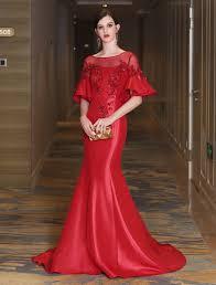 Mermaid <b>Luxury</b> Flowers Illusion Bell Sleeve <b>Formal Evening</b> Dress ...