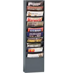 magazine rack wall mount:  steel wall mounted magazine rack gray