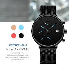 <b>CRRJU Watch Men</b> Blue Luxury Quartz Steel <b>Mens Watches</b> Top ...