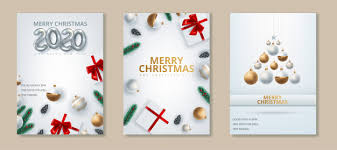 Greeting card of happy new year 2020 and merry christmas. Vector ...