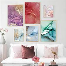 Marble Texture Canvas Poster Abstract <b>Nordic Wall Art</b> Print Modern ...