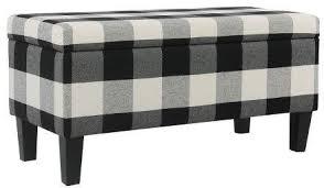 <b>Large</b> Decorative <b>Storage Bench Black</b> Plaid - Homepop ...