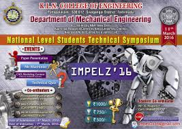 impelz k l n college of engineering pottapalayam mechanical 3 department mechanical engineering 4 symposium details list of symposium events papers topics etc a paper presentation
