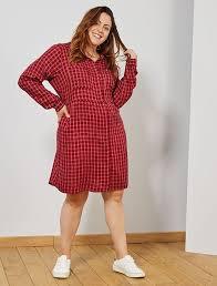 Платье <b>бэби</b>-<b>долл</b> в клетку Большие размеры - красный - Kiabi ...