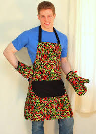 <b>Mens Apron</b> in <b>Hot</b> Chili Peppers <b>Unisex Apron</b> in Red and Green ...