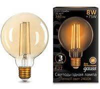 «Светодиодная <b>лампа GAUSS LED Filament</b> G95 E27 8W Golden ...
