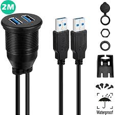 danspeed 2 ports dual usb 3 0 extension cable 2am 2af male plug to female aux flush mount car adapter 1m length