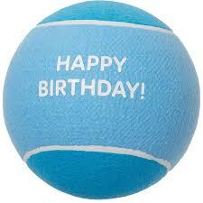 Chase 'N Chomp Giant Blue Happy <b>Birthday</b> Tennis <b>Ball</b> Dog Toy - 9 ...