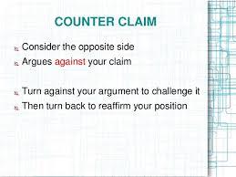 argumentative essay ppt    paragraph    counter claim