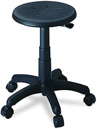 Safco 5100 <b>Office Stool</b> with Casters, Seat: 14in dia x 16-21h, <b>Black</b> ...