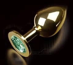 <b>Большая анальная пробка 252</b> Large Gold Emerald с кристаллом ...