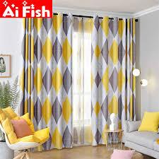 Grey/Yellow <b>Diamond Printed</b> Curtain <b>Simple</b> Nordic Style <b>Living</b> ...