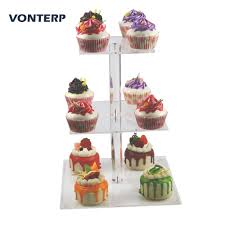 <b>VONTERP 1PC 3 tier</b> square Acrylic cake holder 3 Tier square 6 ...