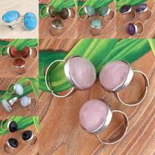 <b>Kraft beads</b> Trendy Silver Plated Oval <b>Stone</b> Ring <b>Resizable</b> ...