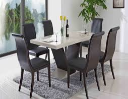 dining table parson chairs interior: contemporary dining room set four black leather dining chair