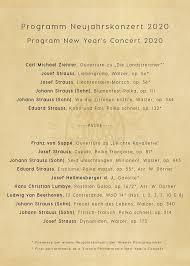 Program of the <b>New</b> Year's Concert 2020 - <b>Vienna Philharmonic</b> ...