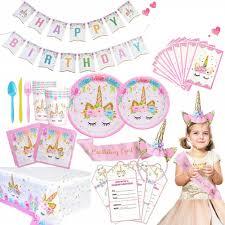 <b>Unicorn Party Supplies</b> Set PINK & GOLD Birthday <b>Decorations</b> ...