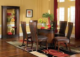 dining room khaki tone: using dining room rugs designoursign nice khaki dining room color with long red window curtains also decorative brown wood furniture set plus bubbled area rug pattern