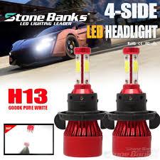 <b>72W 16000LM H13 9008</b> 4-Side LED Headlight Kit Bulbs High Low ...